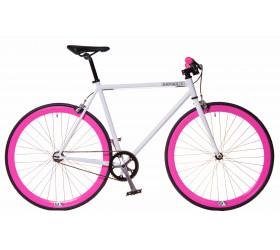 Bicicleta Fixie Branca/Rosa