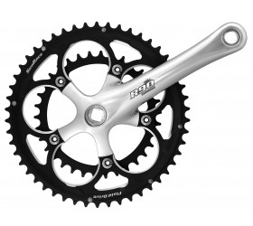 SunRace R90 Road Crankset 9s - Black and Silver